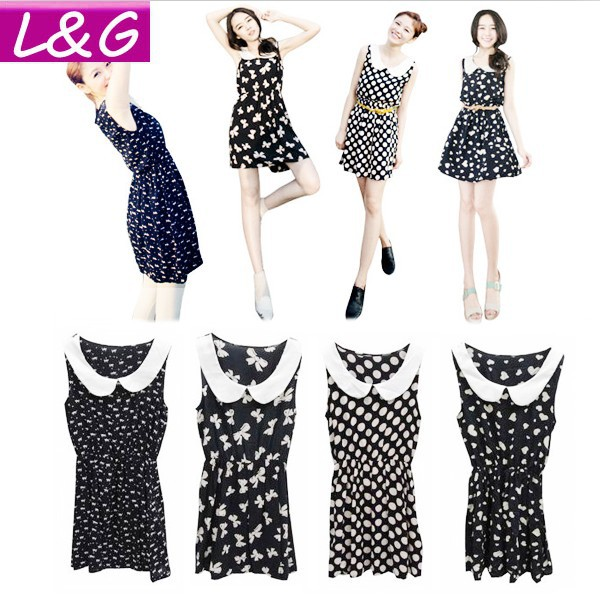 New 2013 Fashion Women Casual Dress Hot Selling Doll Collar One Piece Dress High Street Cat/Dot/Heart/Bow Print Dresses 10016(China (Mainland))