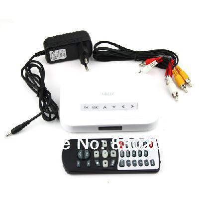 New 1pcs/lot NBOX Flash HDD USB SD Card Media Player RMVB MP3 AVI MPEG Divx With Retail Packaging Free Shipping(China (Mainland))