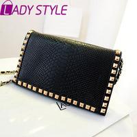 LADY STYLE 2015 hot fashion women handbag rivet clutch vintage messenger bags casual shoulder bag HL980
