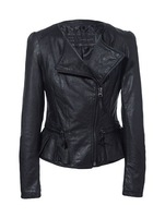 2014 New Fashion women leather;zip-up,cropped navelty jacket coat(Drop Shipping Support!)