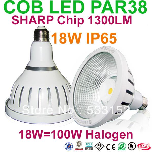 Dimmable Sharp LED Chip COB PAR38 bulb lamp 18W E26 E27 base Beam angle 38degree or 120degree UL SAA PSE CE ROHS(China (Mainland))