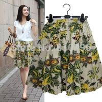 New National Floral-print Tea midi skirt summer lady casual linen knee length skirt