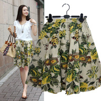 New National Floral-print Tea midi skirt summer lady casual linen knee length skirt