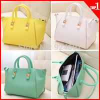 Women Handbag 2014 Fashion Rivet PU Leather Handbags Candy Color Shoulder Bag Women Clutch Bags Women Messenger Bags Totes 8256