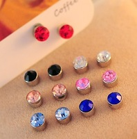 Crystal Round Diamond Stud earring magnet without pierced ear clip earrings 10 colors creative & FASHION gift for women girl
