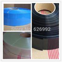 Flatten 75mm / Diameter 47mm Transparent/Blue/Black /Green PVC Heating Shrink Tubing Battery Shrink Film 10meters/lot