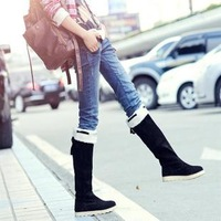 Free shipping 2013 new Two ways snow boots flat heel high-leg boots casual flat boots thermal fur boots