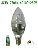 10pcs/lot  Low Price Aluminum  E14  3W 3X1W  270lm Led Candle Bulb AC 100-250V