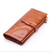 New 2014 women wallet long genuine leaher desgin women's wallets brand zipper pocket multi-color clutch purse female card holder
