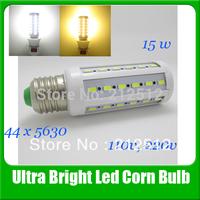 2013 Big Sale E26/E27/E14/B22 15W 110v / 220v Led Lighting 44leds 5630 Led Corn Bulb Light