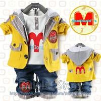 Baby Boy Suits 3 Pcs Set Children Long Sleeve Outerwear+T Shirt+Pants Boys Track Suit 3set/lot