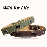 Green/Brown Fashion Bones PU Leather Decorative Dog Collars for Small Pets