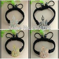 20pcs mix plated Crystal Rhinestones Sideways Allah / Fire Shape / Flame Shape Connectors beads Macrame Bracelets Adjustable