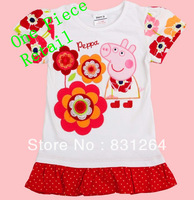 Free Shipping 2013 Summer Nova Kids Brand Clothes Children's Clothing  Baby Girls Peppa Pig 100% T shirt Embroidery Tunic Top