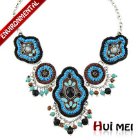 Free Shipping (Min Order $10) Hot New Arrival Vintage Women Ethnic Silver Colorful Enameling Beads Pendant Necklaces Jewelry