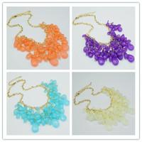 Sheegior Trendy Bohemia colored multilayer tassel water drop flower gold dress women choker necklace Free shipping !