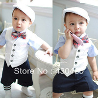 baby clothes boy gentleman suit bow decor vest+shirt+shorts 3 pcs summer Free Shipping