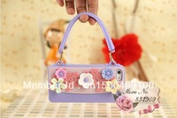 free shipping!Chain Handbag sun flower Silicon Case For iPhone 5 With Retail Package and Free Gfit!!