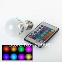 3W RGB E27 16 Colors LED Light Bulb Lamp Spotlight 85-265V + IR Remote Control Free Shipping