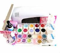 Free Shipping. DIY Full Set 10 color Nail UV Gel Kit 9W UV lamp kit  Brush nail tips Soak Off Polish Manicure File Cleanser Set