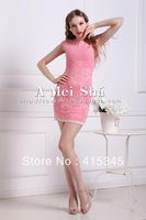 New arrival Autumn Europe and American style women knit dress with embroidered  flower pink colors for sexy girls