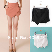 Size XS to XXL Women's Summer Fashion Candy Colors Chiffon Tiered Zipped-up Short Mini Shorts Pants Skorts K01