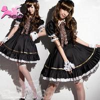 princess dress period costumes black princess dress lolita girl maid costume sexy uniform FMS031