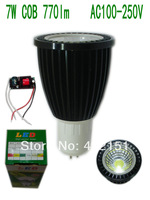 3pcs/lot  Black Aluminum shell (COB71) GU5.3 7W COB 770lm Aluminum Led Spotlight AC100-250V