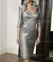 Promotion Hot Sell Cheap Silver Knee Length Evening Mother Of The Bride Dresses With Jacket ML70309