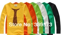 2013 children boys spring summer tie print t-shirts boy leopard long sleeve t shirt tops black yellow orange green free shipping