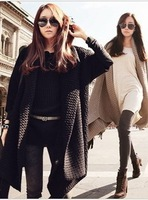 2013 Autumn And Winter  Long Section Of Loose Thickened  Black Cardigan Sweater Coat Women Winter