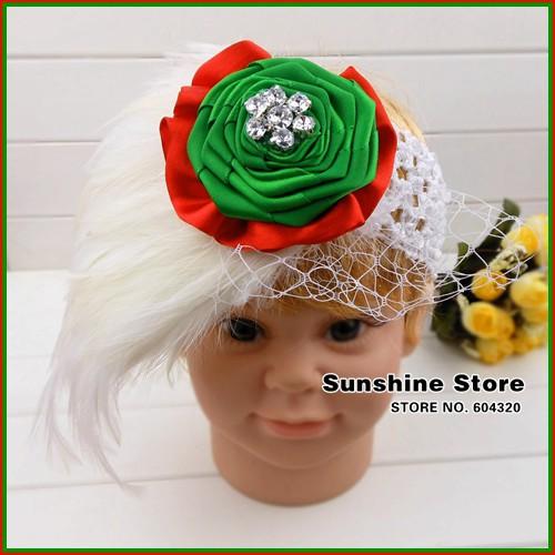 Sunshine store #2B2249 5 pcs/lot(green red white)baby headband girls diamond flower feather headband Christmas headwear CPAM(China (Mainland))
