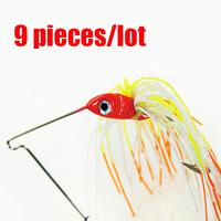 Free shipping.9pcs/lot 13.6g Spinner Bait Fishing Hard Crankbait Minnow Fishing Lures/Hooks baits