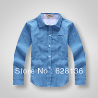 IN STOCK!New 2014 Autumn -Summer Children Boys plaid long-sleeve 100% Cotton Stripe Blue Shirt Children's Clothing