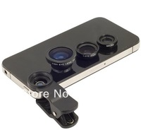 Fish Eye Camera+ Macro + Wide Universal Clip Contact Lense Angle for iphone Samsung S3 S4 N7100 HTC 3in1 free shipping
