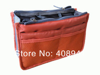 Free shipping+Bag in bag Dual Portable Insert Handbag Purse Large liner Storage Organizer Bag,12 colors,50pcs/lot