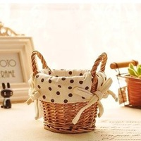 free shipping rattan wicker basket with fabrix flower vase home decor desk rome storage fashion ceramic flower