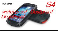 Original Love Mei  Dirtproof Waterproof Metal Aluminum Case For Galaxy S4 i9500 and s3 + Gorilla Glass Free Shipping