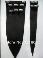 FREE SHIPPING-Cheap Black Brazilian Virgin Hair Clip In Human Hair Extension 18in 7pcs Full Head Set Straight 105g/set 3sets/lot