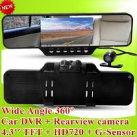 "F10 Car DVR Dual Camera Rearview Mirror DVR  + Ultra Wide Angle 360 Degrees + 4.3"" LCD + HD 1920*720P + G-Sensor C10"