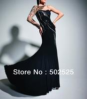Jersey Fabirc Handmake Beads One Shoulder  High End Long Sleeve Evening Dress OL102308 Free Shipping