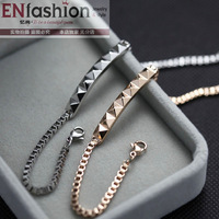 18KGP fashion punk pyramid shaped sticker nail bracelet rivet spike bangle stainless steel jewelry wholesale free shipping