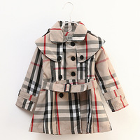 Free Shipping ! Wholesale Children's clothing 2013 Autumn Winter baby girls Plaid Windbreaker girl Coat &Jacket #C8806
