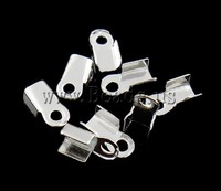 Free shipping!!!Iron Cord Tips,Bling, silver color plated, nickel, lead & cadmium free, 6x4x2mm, Hole:Approx 1.5mm