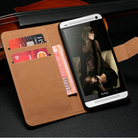 DHL Genuine Leather Wallet Case For HTC One m7  with Stand and Card holder, Black White  2 colors 50 pcs/lot