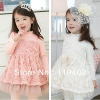 2013 New Autumn Children's Clothing Fashion Girls Flower Princess Lace Long Sleeve Dresses Pink and White Colour Free Shipping