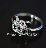 Free Shipping Min.order is $15 (mix order) Cheap Shiny Small Panda Ring, Cute Rhinestone Hot Fashion Ring R176