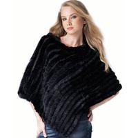 New Real Knit Rabbit Fur Shawl  Fashion Women Rabbit Fur Poncho Fur Coat TPPR0001