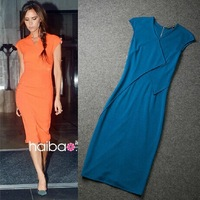 Free Shipping Newest Orange Stretch Cotton Zipper back Pencil Dress Victoria_016 by Victoria Beckham