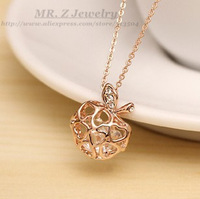 High Quality Italina Apple Zircon Plated Real Gold Chain Necklace Fashion Tops 2013 For Women Free Shipping